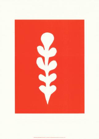 Palme Blanche Sur Fond Rouge, c.1947 - Serigraph