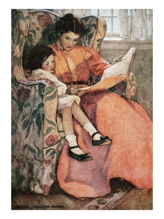 Book Illustration of Mother and Daughter Reading by Jessie Willcox Smith