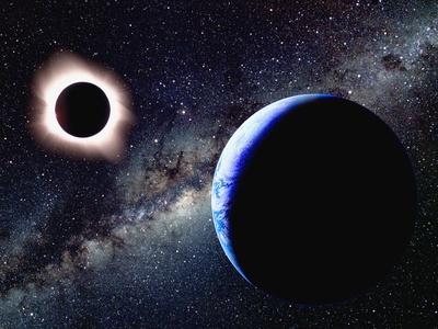 Die Erde und eine totale Sonnenfinst ...