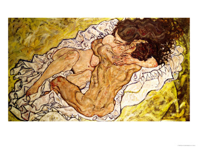lovers embrace painting Schiele