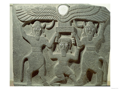 Relief Depicting Gilgamesh Between Two Bull-Men Supporting a Winged Sun Disk, Fr.Tell-Halaf, Syria