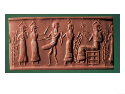 Akkadian Cylinder Seal of Zu Judged by Ea, 2200 BC (Frieze)