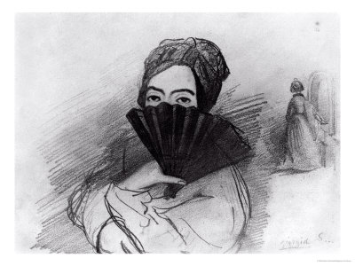 Portrait of George Sand (1804-76) Behind Her Fan