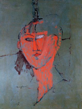 The Red Head, Circa 1915 art print By Amedeo Modigliani