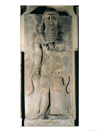 The Hero Gilgamesh Holding a Lion That He Has Captured, Stone Relief from the Palace of Sargon II