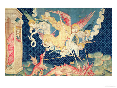 "St. Michael and His Angels Fighting the Dragon, No.36 from ""The Apocalypse of Angers,"" 1373-87"