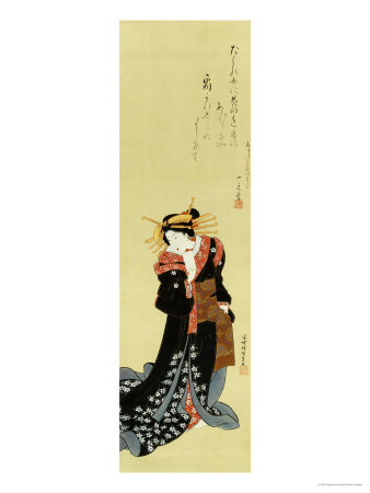A Standing Courtesan in a Black Kimono Scattered with White Flowerheads Holding a Wad of Paper