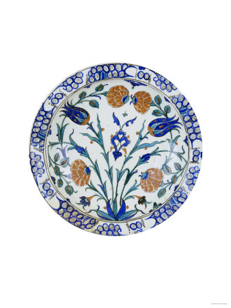 An Iznik Pottery Dish with Tulip and Peony Design, circa 1575