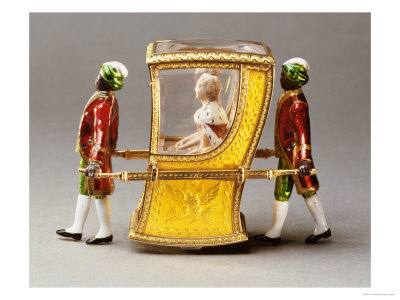 Automaton Sedan Chair with a Figure of Catherine the Great, Signed Faberge, 1908-1917