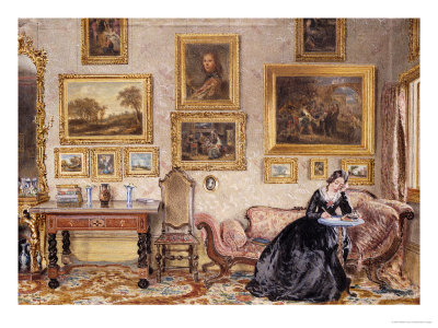 Interior of a Drawing Room with Lady at Writing Desk Giclee Print