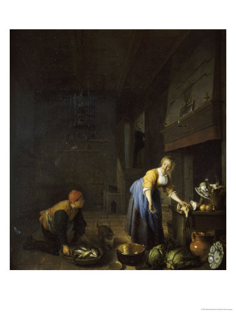 A Kitchen with a Kitchen Maid Preparing Poultry and a Fishmonger Delivering a Basket of Fish