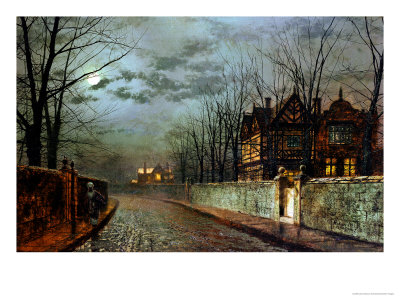 Old English House, Moonlight After Rain, 1883