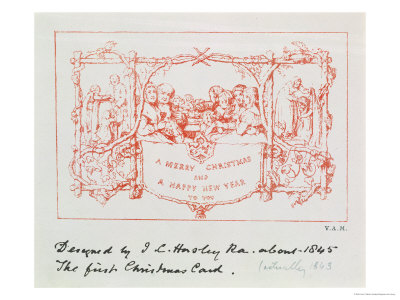 The Christmas Card Horsley Designed and Sent to Henry Cole, 1843, Known as the First Christmas Card