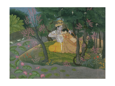 Krishna and Radha Embracing in a Grove, Kangra, Himachal Pradesh, Pahari School, circa 1785