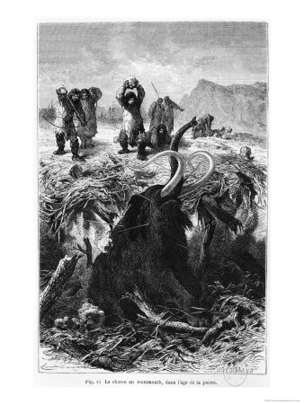 "Prehistoric Men Hunting a Mammoth, Illustration from ""L'Homme Primitif"" by Louis Figuier"