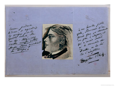 Manuscript Page with Portrait of Berthe, Baudelaire