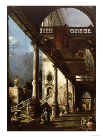 Capriccio With Colonnade, Circa 1765 affiche par Canaletto