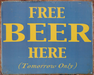 Free Beer Here Tin Sign