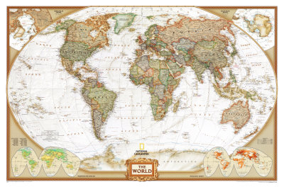 World Political Wall Map, Executive Style Antique Tones Educational Enlarged Poster Poster