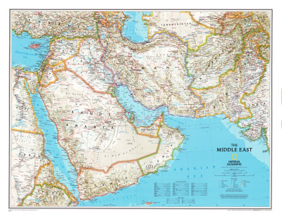 Map of Afghanistan, Pakistan and the Middle East Poster