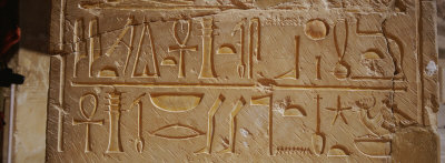 Close-up of a Stone Wall, Temple of Hatshepsut, Luxor, West Bank, Egypt