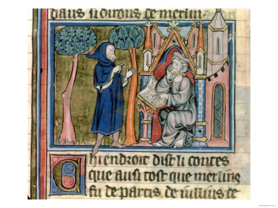 Merlin Dictates the Story to Blaise, by Robert de Boron, French