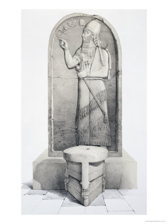 "The King and Sacrificial Altar, Nimrud, Plate 4 from ""Nineveh and Its Remains"" by Layard 1849"