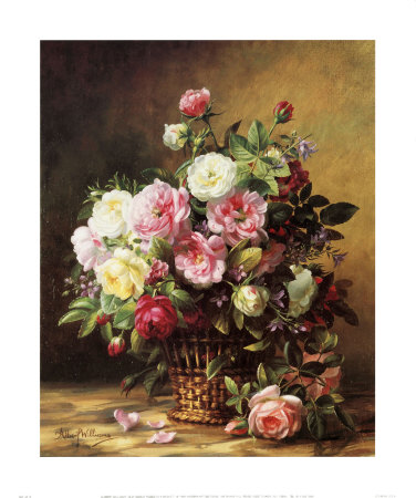Old World Roses in a Basket