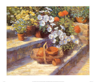 Trugs, Pots and White Flowers