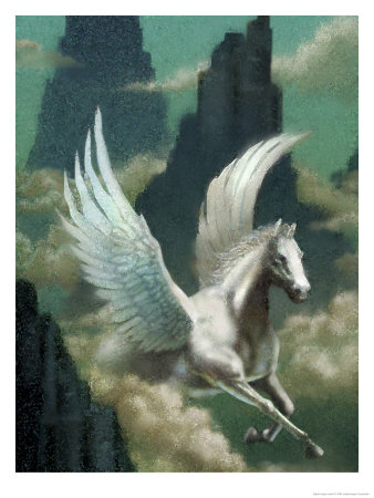 Pegasus Flying Through Clouds