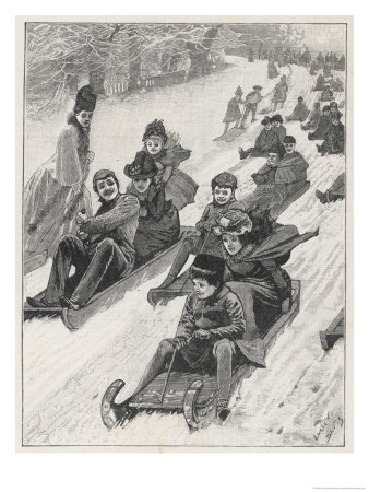 Lots of Children Tobogganing