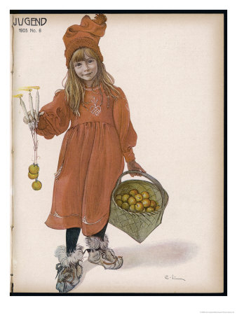 Brita With Candles And Apples Art Print By Carl Larsson