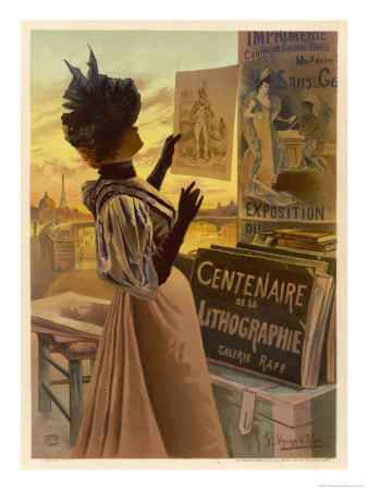 An Elegant Woman Looks at Loose Prints on the Paris Quais Giclee Print