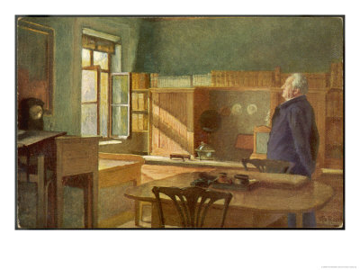 Johann Goethe German Writer and Scientist in His Study