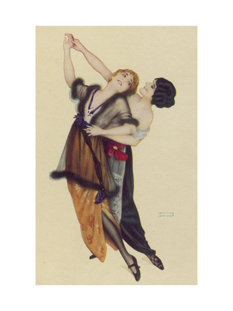 Two Stylishly Dressed Ladies Dance the Tango Stylishly Together