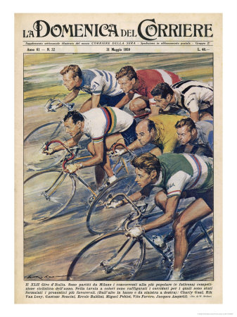 Riders in the 'Giro d'Italia' the Most Important Italian Cycle Race Posters