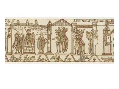Bayeux Tapestry: at the Coronation Astrologers are Dismayed by the Appearance of Halley