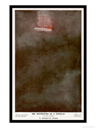 German Zeppelin Shot Down Over England Giclee Print