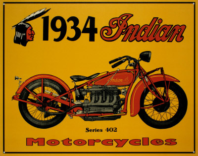 1934 Indian Motorcycles Posters