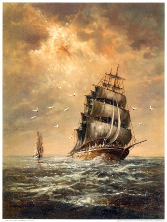 Clipper ship caught in stormy weather.