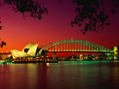 Opera House and Harbour Bridge at Sunset, from Macquaries Point, Sydney, New South Wales, Australia