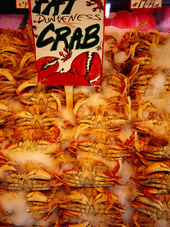 Crabs for Sale at Pike Place Market, Seattle, Washington, USA