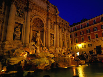 High-Baroque Styled Trevi Fountain at Night, Rome, Lazio, Italy