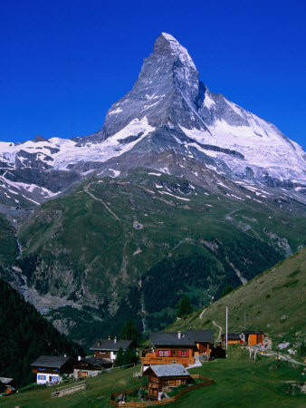 Matterhorn Towering Above Hamlet of Findeln, Valais, Switzerland
