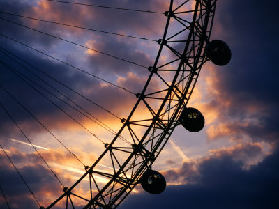 Detail of London Eye at Sunset, London, United Kingdom