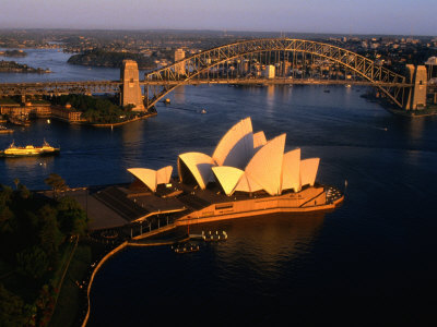 Aerial View of Sydney Opera House and Sydney Harbour Bridge, New South Wales, Australia
