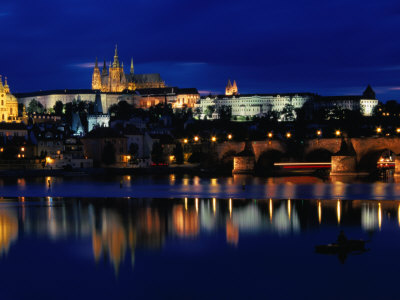 Vltava River at Night from Charles Bridge of Prague Castle, Prague, Czech Republic