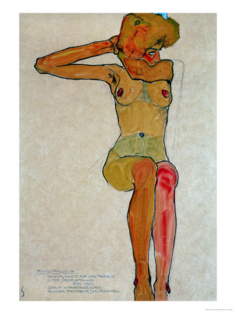Seated Female Nude with Raised Right Arm, 1910 Giclee Print