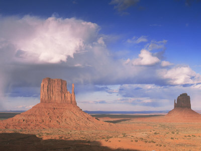 Rain Cloud Over Monument Valley, Utah, USA Premium Poster