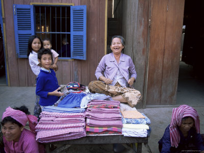 Traditional Scarves for Sale, Cambodia, Indochina, Southeast Asia